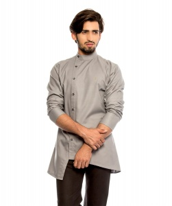 Men Nawaabi Grey Colored Kurta