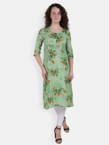 Green Leaf Print Kurta for Women(SRK-2X-DU-004C)