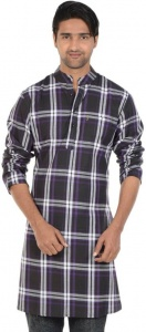 MEN Checkered Men's A-line Kurta  (Multicolor, S9-MK-602I)