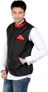 ForgeKo Black Nehru Jacket with Red Pocket Square