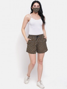Zinniars,Cotton Yellow Multi  Polka Printed Day Shorts With Side Pockets and free Matching Mask For Women (Z-DS-003D)
