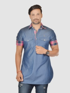 Men Denim Blue & Multi Color Pathani Kurta