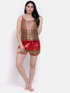 Designer Satin Red Printed Comfortable Cami & shorts Set For Ladies From the House of Zinniars (Z-2X-Camset-001A)