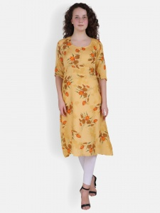Yellow Leaf Print Kurta for Women(SRK-2X-DU-004A)