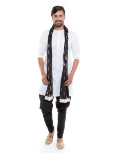 Men White Cotton sheer Round Neck Kurta with Black Pajama Set with Scarf