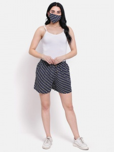 Zinniars,Cotton Blue Multi  Polka Printed Day Shorts With Side Pockets and free Matching Mask For Women (Z-DS-003E)