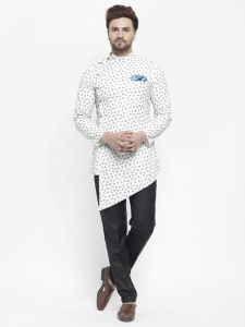 Men Designer Printed Bio washed A-Line Diagonal Hemmed Nawaabi Kurta Pajama Set with Pocket Square(S9-KP-705C)