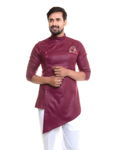 Men Rich Maroon Color Solid A-Line Kurta ( S9-MK-340B)