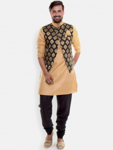 Men Beige Kurta With Black Pajama & Designer Jacket