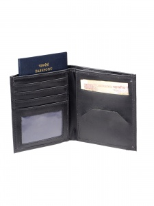 UniCarress- 6 Card Slots Casual & Formal Black Artificial Leather Wallet For Men(Black) UC-MW-F11