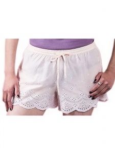 Solid Light pink Day Shorts With Embroidery At The Bottom For Women (SC-W-8)