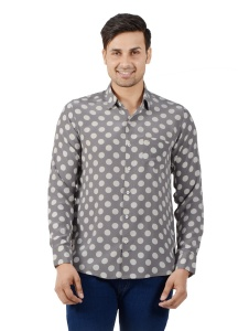 S9 Men - Printed Polka- Party Shirt For Men (Grey) S9-FS-NIC-10