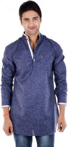 Men Blue Solid Pathani Kurta (S9-MK-203B)