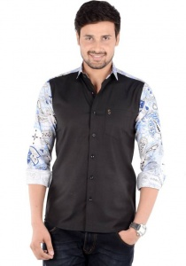 S9 Men's Solid, Printed Casual Shirt Linen Look (Black, White, Dark Blue) S9-FS-228A