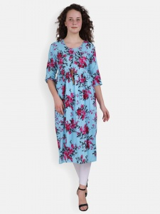 Floral Print Blue kurti for women (SRK-2X-DU-003A)