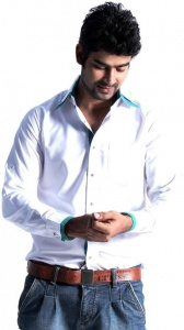Men's Solid, Checkered Casual Shirt (White-Green)  S9-FS-304