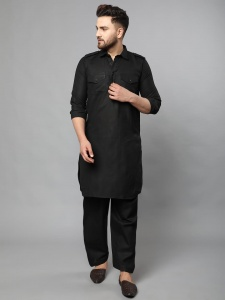 Elegant Solid Rich Black Pathani St For The Man With Rich Taste (S9-VM-KP-711A)