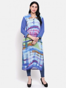 Designer Multi Colour Digital Print Georgette Kurti With Contrast Band Collar And 3/4 Sleeves (SRK-MICH-0920)