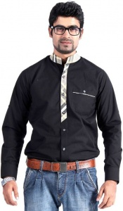 Men's Solid, Checkered Casual Shirt (Black, Beige) S9-FS-301B