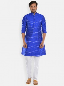 Men blue & Golden Jacquard Woven Designer Kurta  with white Pajama S9-KP-19-13