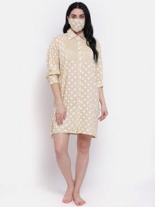 Designer Rayon  long Boyfriend Shirt-Dress For Ladies From The House Of Zinniars (Z-2X-BS-001A/Beige)
