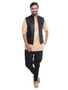 Men Beige Kurta Black Pyjama Set With Black Jacket