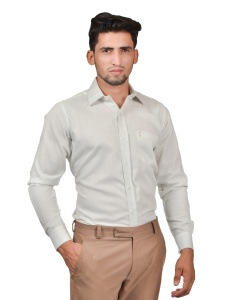 S9 Men Solid Formal Cotton Blend Shirt For Men(Whitish)  -S9-FS-253F2
