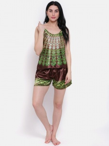 Designer Satin Brown Printed Comfortable Cami & shorts Set For Ladies From The House Of Zinniars (Z-2X-Camset-001D)