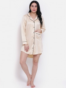 Designer Gorgeous Satin  Boyfriend Shirt-Dress For Ladies From The House Of Zinniars (Z-2X-BS-003A/Beige)