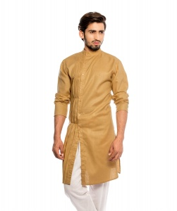 Men Nawabi Beige Color Solid A-Line Kurta