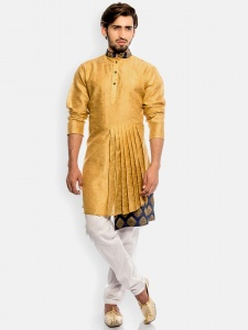 Men Nawaabi Pleated Designer Kurta with White Pajama (S9-IWS-1801B)