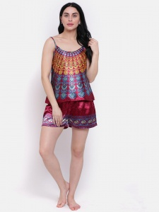Designer Satin Burgundy Printed Comfortable Cami & Shorts Set For Ladies  From the House of Zinniars  (Z-2X-Camset-001B)
