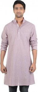 MEN Checkered Men's A-line Kurta  (Purple, White)