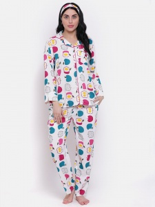 Zinniars Rayon Pink Apple Printed  Night Suit Set With Mask And Hairband  (Z-PJ-PAJAMA-apple-206D)