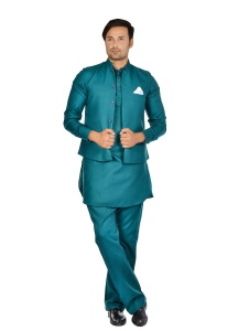 Forge'ko Green Pathani Kurta Pyjama Jacket Set ( S9-M-PKSET-05A)