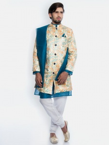 Men Wedding Suits - Multi colored with white Pajama& Contrast Scarf (S9-IWS-01C)