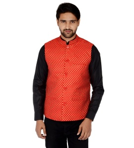Forge'ko Economical Self Design Men's Red Waistcoat