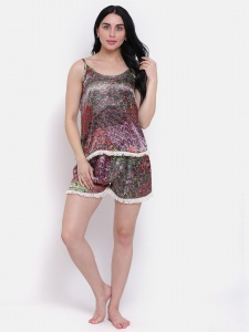 Designer Satin Printed Comfortable Cami & shorts Set For Ladies From the House of Zinniars (Z-2X-MORE-01A)