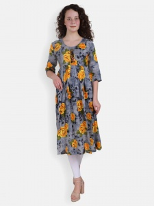 Yellow Rose Print Kurti for women (SRK-2X-DU-002B)
