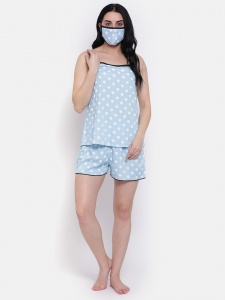 Stylish Blue Polka Dot Printed Cami And Shorts Set For Women From The House Of Zinniars (Z-2x-Camiset-205A)