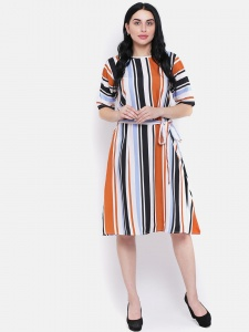 Stripe Printed A-line Dress With Belt For Women (Zinn-DRS-02-04)