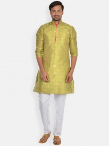 Cotton geometric pattern kurta with contrast white pyjama  S9-KP-19-05