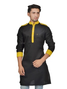 Men Black & Yellow Color Solid A-Line Kurta (S9-MK-229E)