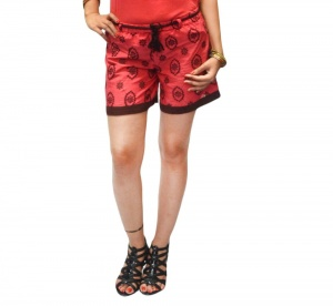 Stylish Day shorts with All Over Embroidery And Contrast Brown Trim At The Bottom For Women (S9-W-HDS-03)