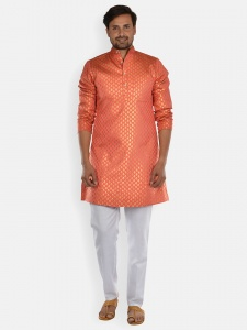 Men orange & Golden Jacquard Woven Designer Kurta  with white Pajama S9-KP-19-24B