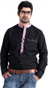 Men's Solid, Checkered Casual Shirt (Black, Pink)  S9-FS-301C