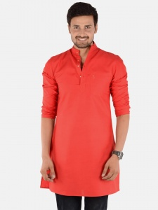 Men Red Solid Straight Kurta (S9-MK-201E2)