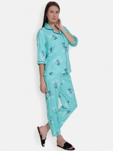 Zinniars Two-Piece cute sleepwear / Nightsuit Pajama Set featuring 3/4th sleeve top and pants for relaxed fit(SC-Pj-Pajama-20201A)