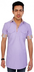 Men Purple Pathani Straight Kurta ( S9-MK-85)