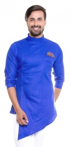 Men  Deep Blue Color Solid A-Line Kurta (S9-MK-340C)